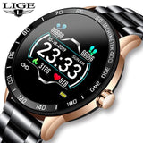 LIGE 2020 New Steel Belt Smart Watch Men Heart Rate Blood Pressure Health Monitoring Sport Waterproof Smartwatch fitness tracker+Box