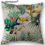 Linen Cotton birds flowers leaves Pillow Cover Custom Print Home Decorative Throw Pillows Cases Only - 45x45cm one side-Throw Pillow-StyloMylo World