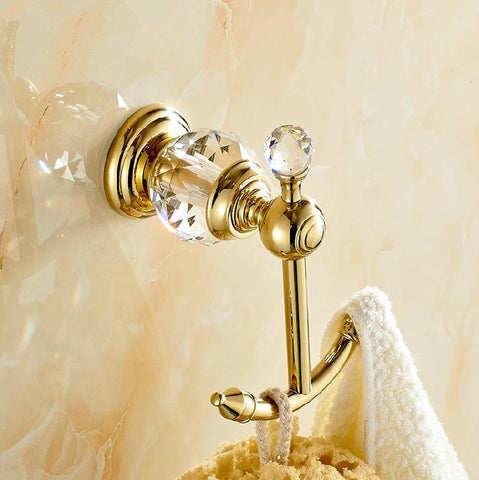 luxury crystal & brass golden hook bathroom hangings gold towel rack clothes hook-Sanitary-StyloMylo World