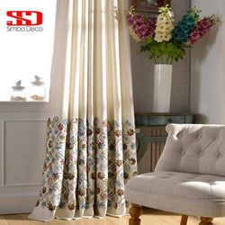 Luxury Embroidered Cotton Curtains for Living Room Pastoral Floral Drapes Liner Window Cortinas for Bedroom Screen Single Panel-curtain-StyloMylo World