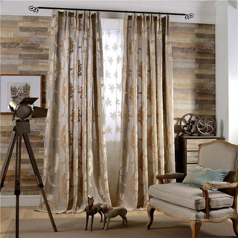 Luxury Jacquard New Products Curtains For Living Room European Coffee Blue Green Kitchen Cloth Curtain Balcony Window Treamtment-curtain-StyloMylo World