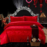 Luxury Silk Bedding Set Embroidery Bed Linens Tencel Satin Bed Sheet Set Jacquard Bedclothes Full/Queen/King Size Bed cover-Beddings-StyloMylo World