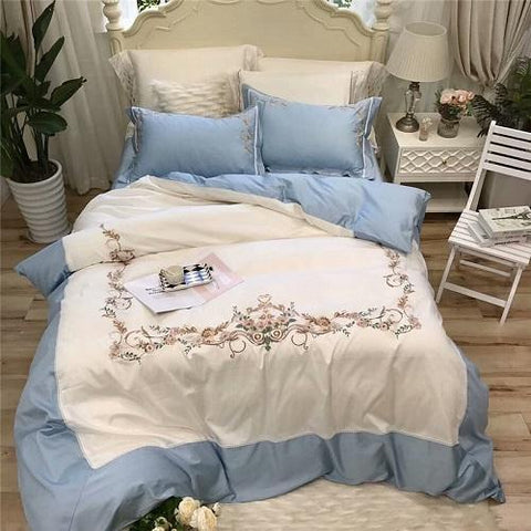 Luxury white blue Egyptian cotton Beddings set king queen size bed cover set for girls princess Bedsheets linen Duvet Cover set