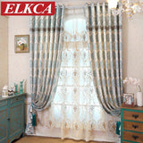 Mediterranean Classic Blue Embroidered Curtains for Living Room Bedroom Luxury Curtains Window Drapes Embroidered Voile Curtains-curtain-StyloMylo World