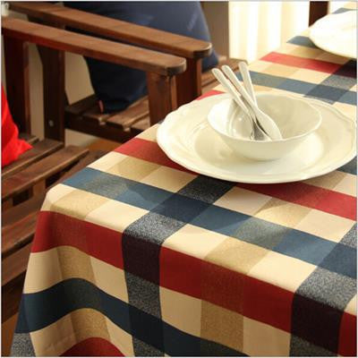 Mediterranean Plaid Traditional Chinese Table Cloth Cotton Rectangular  Tablecloths Series Table Cloths StyloMylo World