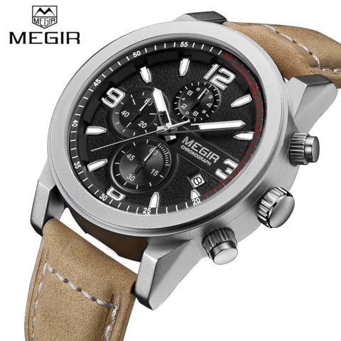 MEGIR Military Chronograph Sport Mens Watches Top Brand Luxury Quartz Watch-watches-StyloMylo World