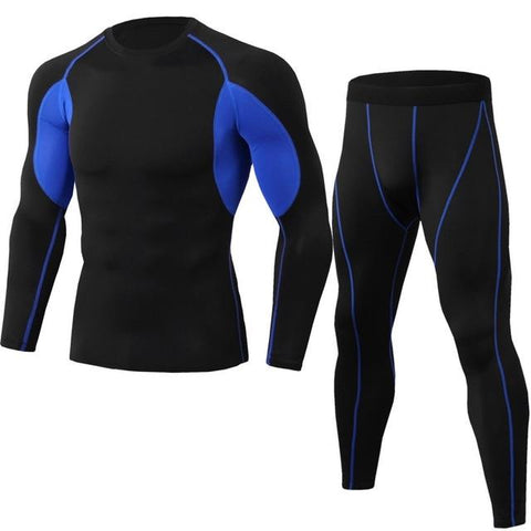 Men's Compression Running jogging Suits Clothes Sports Set Long t shirt And Pants Gym Fitness workout Tights clothing 2pcs/Sets