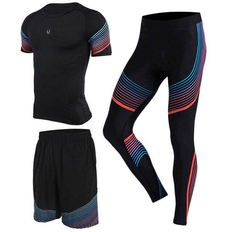 Men's Running Sets Sports Sets Compression Shirts Leggings with Shorts for Running Joggers Gym Fitness Ball games
