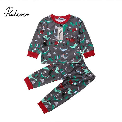 Merry Christmas Toddler Kid Baby Girl Boy Xmas Dinosaur Tops Pants Outfit Nightwear Pajamas Sets 1-6T