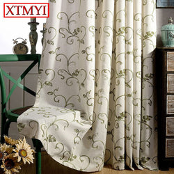 Modern Curtains for the Bedroom Blackout Curtains for Living Room Gray \ green embroidered sheer curtains fabric blinds drapes-curtain-StyloMylo World