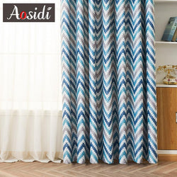 Modern Geometric Print Blackout Curtains For Living Room Window Blue Wave Pattern Bedroom Curtains 80% Shading Custom Made Blins