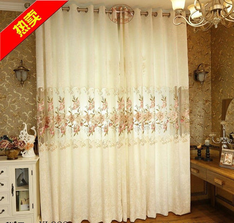 Modern Jacquard White Blackout Embroidered Voile Tulle Sheer Curtains Living Room Girls Bedding Valance Cortinas