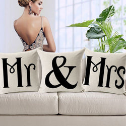 Mr & Mrs Letter Couple Linen Cushion Cover Black White Modern Square-Throw Pillow Cover-StyloMylo World