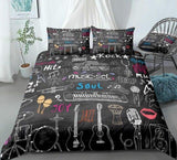Music Duvet Cover Set Microphone Guitar Headphone Drums Bedding Rock Music Quilt Cover Black Queen Bed Set Colorful Dropship