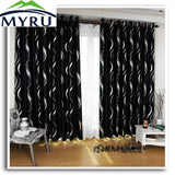 MYRU New arrival beautiful full shade blakcout curtains black and silver curtains for living room-curtain-StyloMylo World