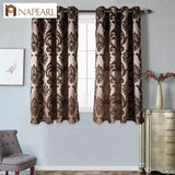 NAPEARL Short kitchen window grommet top treatments modern curtain for living room ready made jacquard semi-blackout curtains