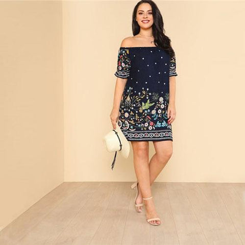 Navy Plus Size Botanical Print Off Shoulder Cotton Dress Women 2019 Summer  Beach Vacation Bohemian Midi Dresses