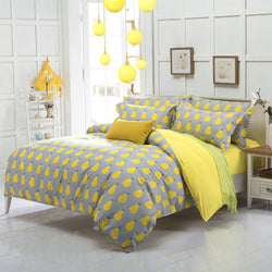 NEW Arrival ! quality polyester pear apple yellow queen twin full bedding bed sheet set bedclothes duvet cover set bedding set-Beddings-StyloMylo World
