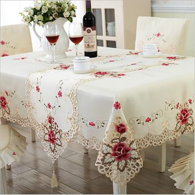 New Design Elegant Polyester Embroidery Tablecloth Embroidered Floral Cutwork Table Cloth Covers Runners with Lace Edge-Table Cloths-StyloMylo World