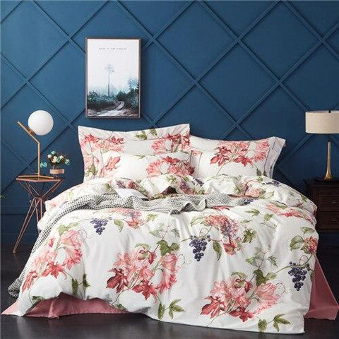 New Egyptian Cotton Bed. Bed Set Comforter Bedding Sets Duvet Cover+BedSheet+Pillowcases M-Series Anna Fruit