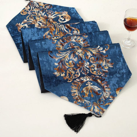 NEW ! European style royal blue satin table runners for wedding decoration-Table Cloths-StyloMylo World
