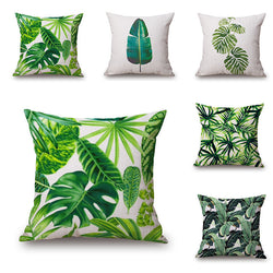 New Green Tropical Plant Tree Leaves Pillow Cover Fresh Throw Pillow Case Home Hotel Usage-Throw Pillow Cover-StyloMylo World