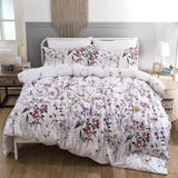 NEW ! White Color Bedding Set King Size Flower Printed Quilt Cover Bed Linen Set with Pillowcase Floral Double Bedding