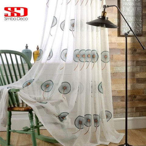 New White Embroidered Tulle Curtains For Living Room Dandelion Screen Blue Coffee Decorative Balcony Window Drapes Cortinas-curtain-StyloMylo World