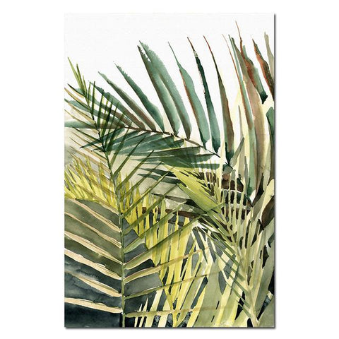 Nordic Canvas Painting Green Leaf Minimalist Tropical Plant Palm Leaves Poster Wall Picture for Living Room Home Decoration