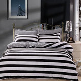 Nordic Polyester Cotton Bedding Sets Simple Geometric White Striped Twin Queen King Size 4pcs Duvet Cover Bedsheet Pillow Cases-bedsheets-StyloMylo World