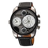 Oulm Watches Male Quartz-Watch Casual Leather Strap Military Wristwatch-watches-StyloMylo World