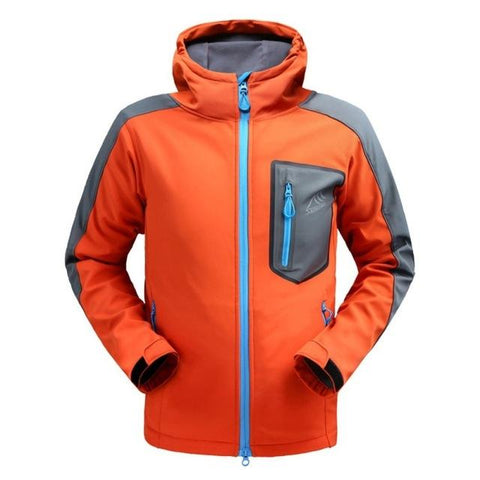 Outdoor Hiking Fleece Rain Coat Windbreaker Camping Trekking Sportswear Hiking Waterproof Hooded Jacket