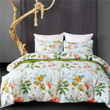 Pastoral Bed Linen Set Palms Floral Bedclothes Microfiber White Duvet Cover Set Queen Twin Bed Comforter King Bedding Sets