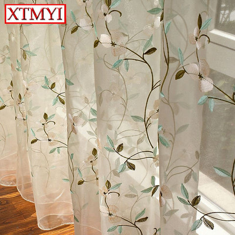 Pastoral Leaves Embroidered Voile Curtains Bedroom Sheer Curtains for  Living Room Tulle Window treatment Curtains for kids