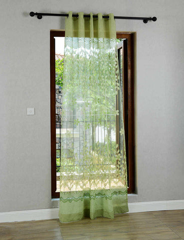Pink Green Flower Burnout Tulle Curtains For Living Room Transparent Bedroom Children Kitchen