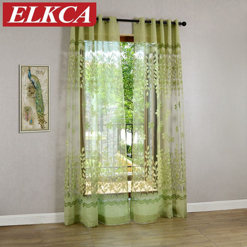Pink Green Flower Burnout Tulle Curtains For Living Room Transparent B StyloMylo World