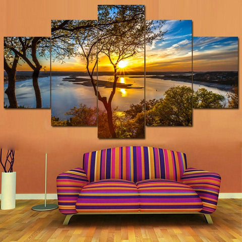 Posters Tableau Wall Art Home Decor Modern 5 Panel Beautiful Sunrise Natural Landscape HD Print Painting Modular Pictures Canvas-Art-StyloMylo World