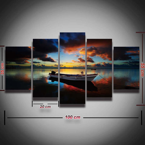 Printed Seascape picture boat sea lake sky canvas painting sunset nature scenery landscape 5 panel for wall art room home decor-Art-StyloMylo World