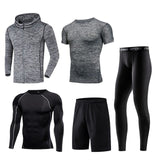 Men Sportswear Compression Sport Suits Breathable Gym Clothes Man Sports Joggers Training Gym Fitness Tracksuit Running Sets 3XL