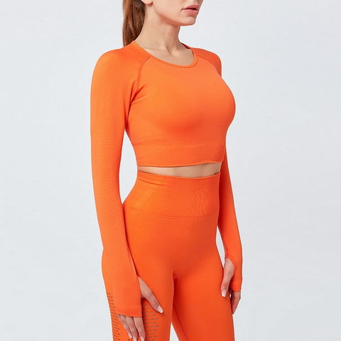 Women Seamless Yoga Sport Outfit top For Woman Sports Wear Women's Gym Sportswear fitness Long Sleeve Top control sports top