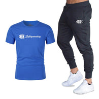 Summer Hot Men's Sets New Print T Shirts+Pants Two Pieces Sets Casual Tracksuit Male Casual Tshirt Gyms Fitness Trousers