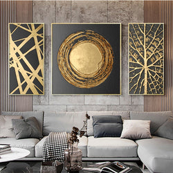 3 Panels Abstract Golden Art Modern Pictures Canvas Painting Wall Poster for Living Room Office Home Decorative Prints Cuadros