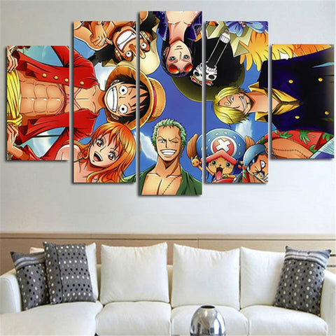 Canvas Poster Living Room HD Printed Picture 5 Panels One Piece Anime Characters Painting Modular Wall Art Home Decor Framework