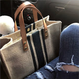 Simple Fashion Large-capacity Handbag For Ladies Vintage Striped Totes For Female Portable Ol Business Briefcase Korean Style
