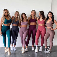 Seamless Gym Set Nylon Woman Sportswear 2 Piece Exercise Leggings Padded Sports Bras Women Fitness Wear Yoga Sets Sports Suits L