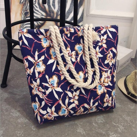 Fashion Folding Women Big Size Handbag Tote Ladies Casual Flower Printing Canvas Graffiti Shoulder Bag Beach Bolsa Feminina