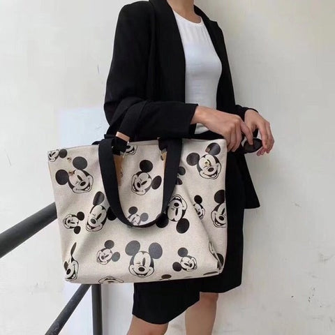 New Disney Korean canvas bag large-capacity tote bag Mickey mouse women fashion print shoulder diagonal backpack