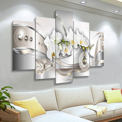 5 Panel Wall Art Canvas Painting Orchids Flowers Posters and Prints Modern Abstract Wall Picture for Living Room Decoration