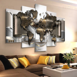 Modern Wall Canvas Painting 5 Panels World Map Posters Abstract Worldmap Print for Living Room Office Wall Decor frameless