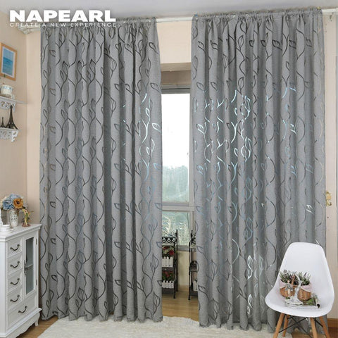NAPEARL Home Decoration Living Room Curtains Window Treatments Jacquard Leaf Designer Gray Curtain For Kitchen Bedroom